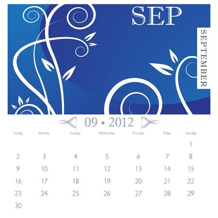 An image of September month victorian calendar page. Stock Vector - 9391217
