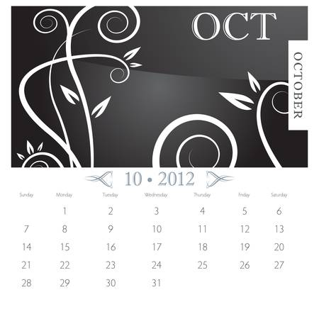 An image of October month victorian calendar page. Stock Vector - 9391218