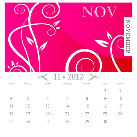 An image of November month victorian calendar page. Vector