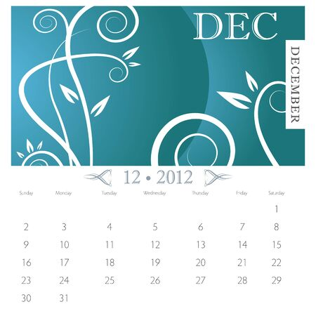 calendar page: An image of December month victorian calendar page.
