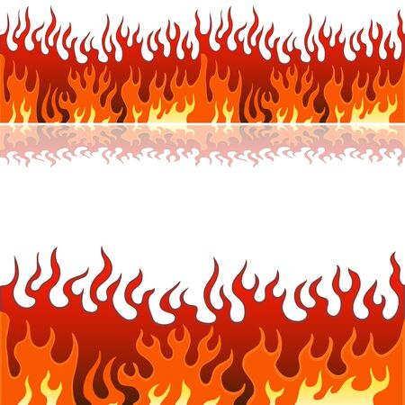 An image of a set of flame fire banner borders. Vector