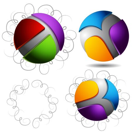 An image of a abstract 3d sphere icons with curly pen stroke background. Stock Vector - 9405027