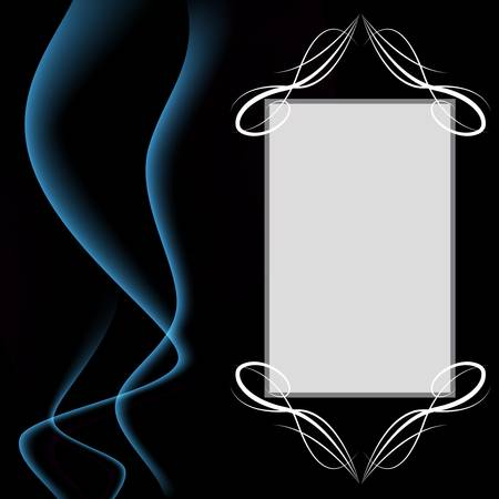 An image of a blank smoke background invitation with calligraphy swirls.