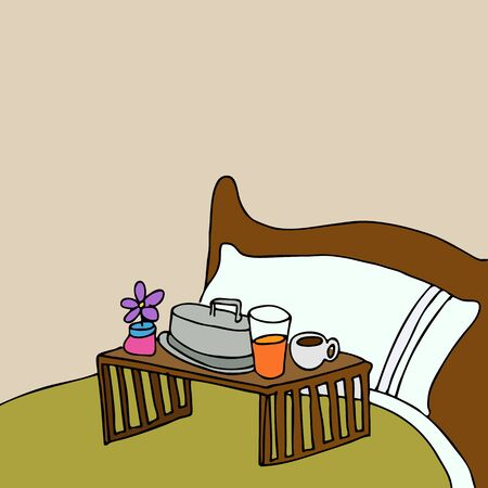 An image of a breakfast food tray on a bed. Vector