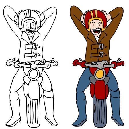 Een afbeelding van een motorrijder die op zijn helm zet.