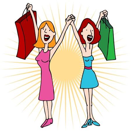 買い物袋を持つ手を繋いでいる二人の女の子のイメージ。  イラスト・ベクター素材
