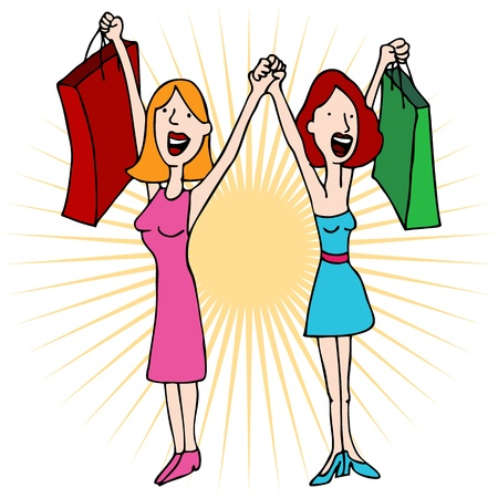 An image of two girls holding hands with shopping bags. Vector