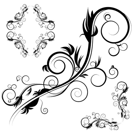 An image of a decorative antique flourishes frame set. Stock Vector - 9430134