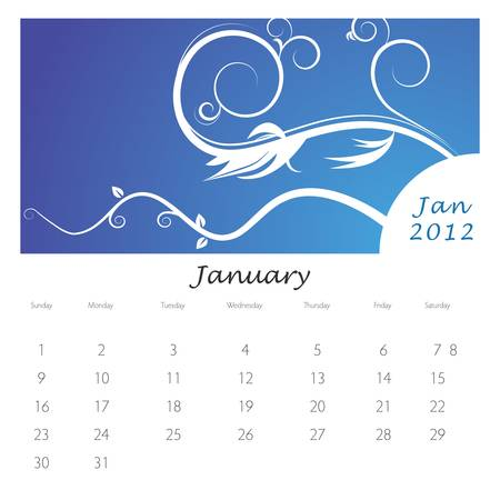 An image of a January 2012 vine swirl calendar. Stock Vector - 9455624