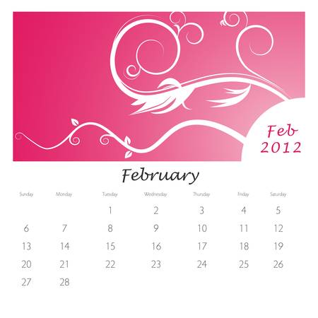 An image of a February 2012 vine swirl calendar. Vector