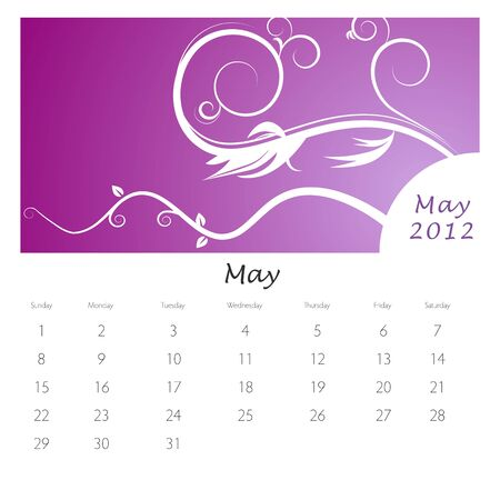 An image of a May 2012 vine swirl calendar. Stock Vector - 9455609