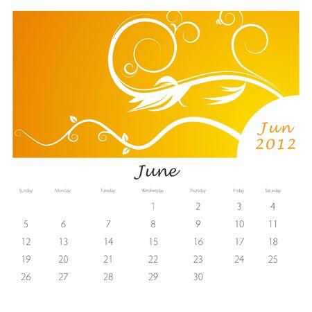 An image of a June 2012 vine swirl calendar. Vector