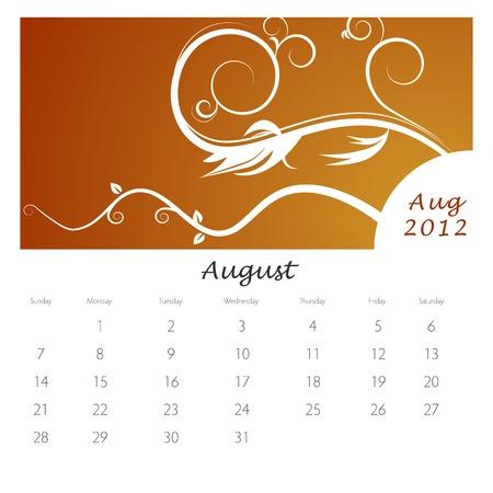 An image of a August 2012 vine swirl calendar.