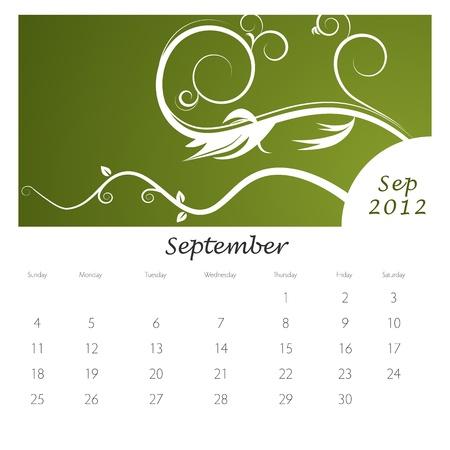 Una imagen de un calendario de remolino de vid de septiembre de 2012. Foto de archivo - 9455619