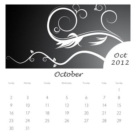 An image of a October 2012 vine swirl calendar. Stock Vector - 9455620