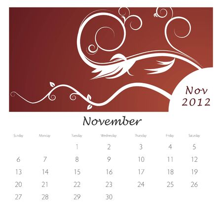 An image of a November 2012 vine swirl calendar. Stock Vector - 9455791