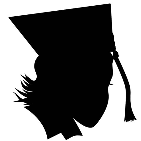 An image of a female graduate with hat silhouette.