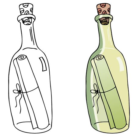An image of a message inside a bottle. Ilustrace