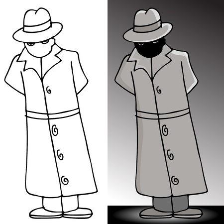 An image of a mysterious man in a trenchcoat. Vector