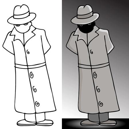 Een afbeelding van een mysterieuze man in een trenchcoat.