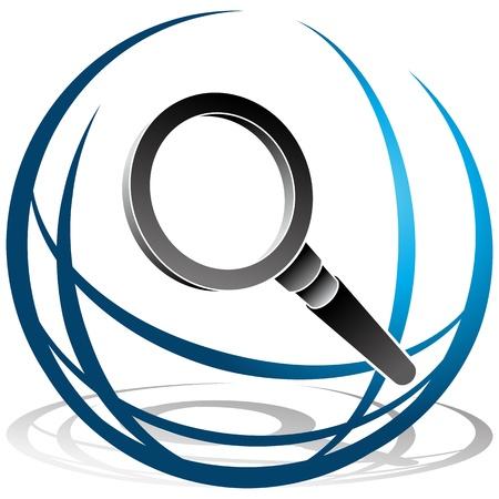 lupa: Una imagen de un globo y buscar el icono de lupa.