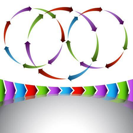 An image of a set of venn arrow diagrams and chevrons. Vector