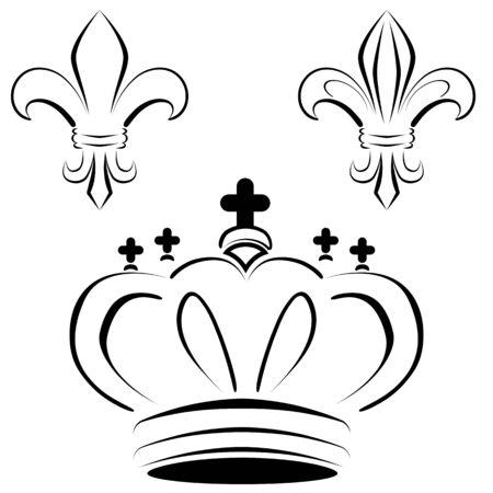 An image of a royal crown fleur art. Illusztráció