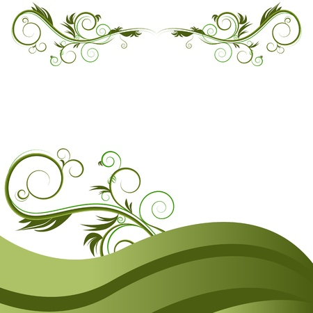 An image of a green wave vine flourish background.