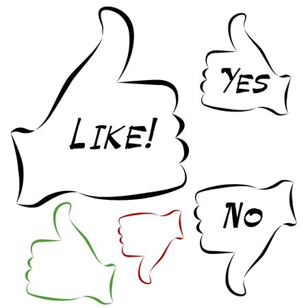 thumb's up: An image of a elelgant thumbs up and down approval icons.