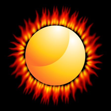 An image of a fiery flame sun on a black background. Stock Vector - 9487888