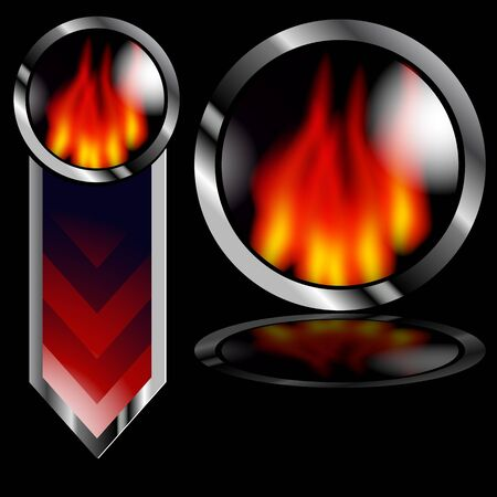An image of a fiery flame arrow and button on a black background. Stock Vector - 9487881