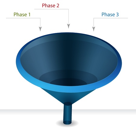 An image of a funnel chart phases diagram. Vector