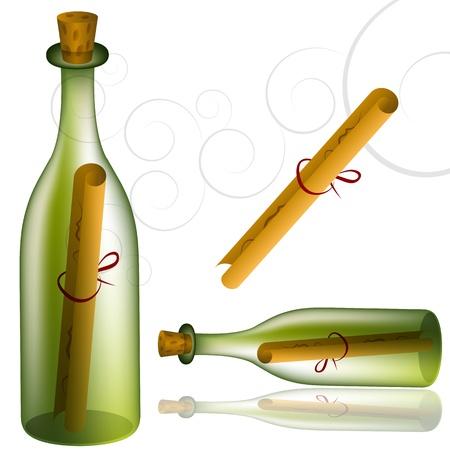 Een afbeelding van een gekurkte fles met bericht.