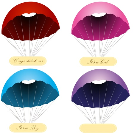An image of a set of parachute message labels. Illustration