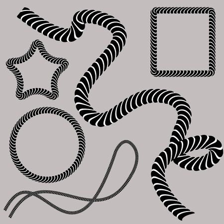 An image of a set of twisted rope shapes. Vector