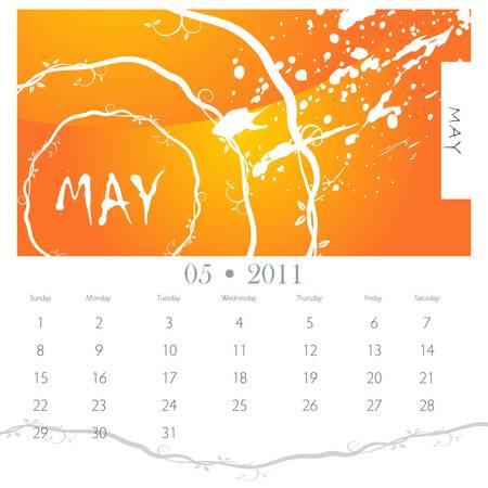 An image of a May 2012 grunge vine calendar. Vector