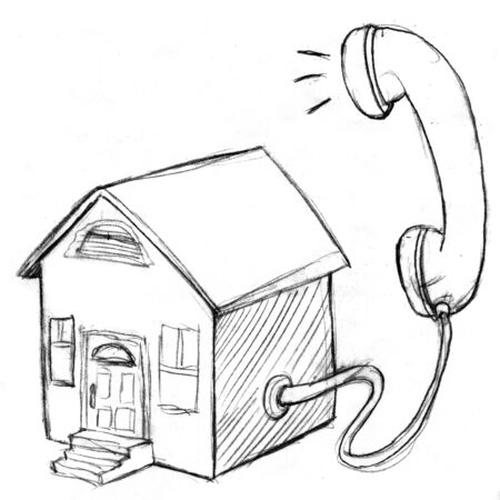 An image of a house shaped telephone. Stock Photo - 9518148