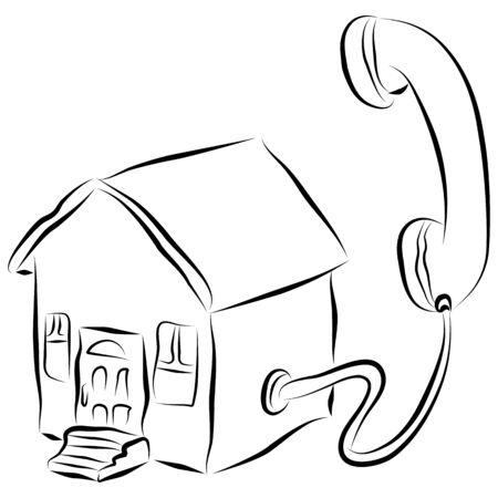 Una imagen de un icono de teléfono de la casa de estilo de trazo. Foto de archivo - 9538441