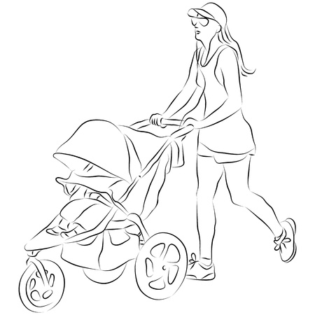 An image of a mom pushing a baby stroller. Vector