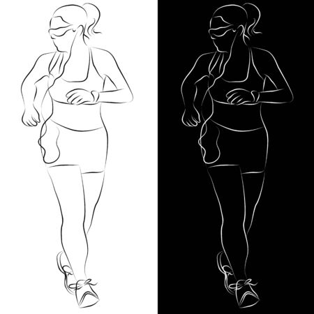 to the line: An image of a female runner line drawing. Illustration