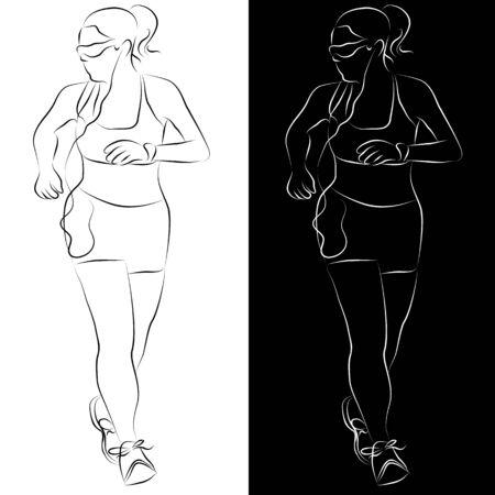 Een afbeelding van een vrouwelijke runner-lijntekening. Stock Illustratie