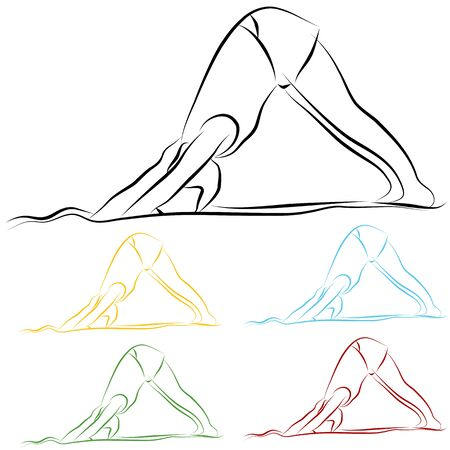 line: An image of a woman doing yoga line drawing. Illustration