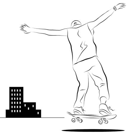 An image of a man riding a skateboard line drawing.