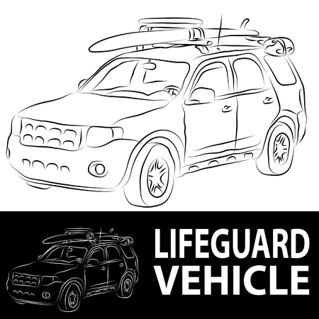 An image of a beach lifeguard vehicle line drawing. Vector