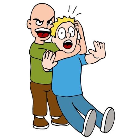 peleando: Una imagen de un dos hombres luchando con en una posici�n de espera de estrangulaci�n. Vectores