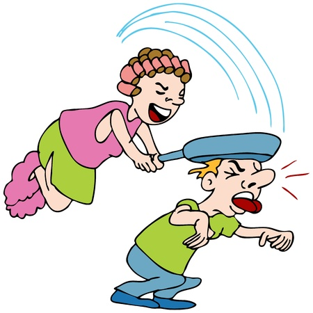 An image of a woman hitting a man with a frying pan. 일러스트