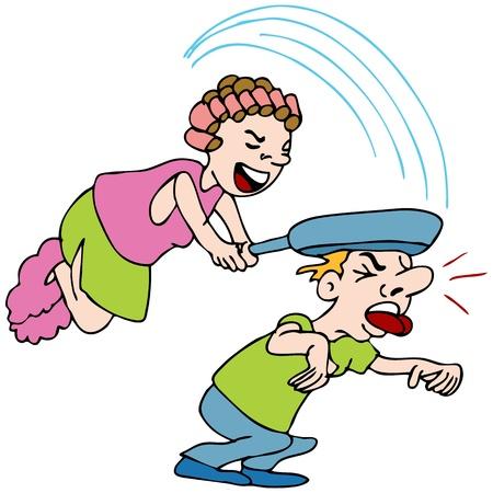 Una imagen de una mujer golpeando a un hombre con una sartén. Foto de archivo - 9538455