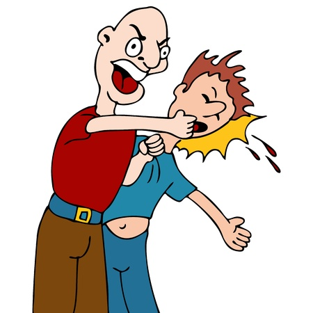violence: An image of a man being punched in the face. Illustration