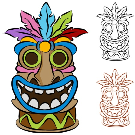 Een afbeelding van een houten tribale tiki idool.