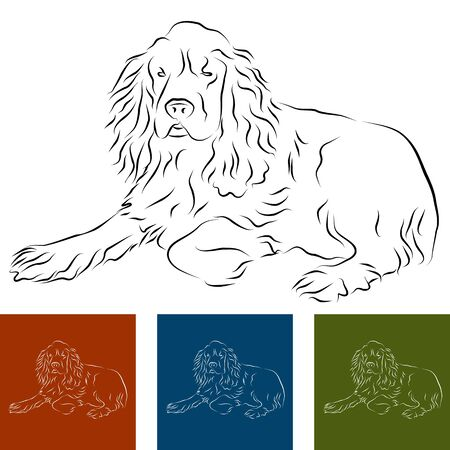green lines: An image of a cocker spaniel Line Drawing Illustration